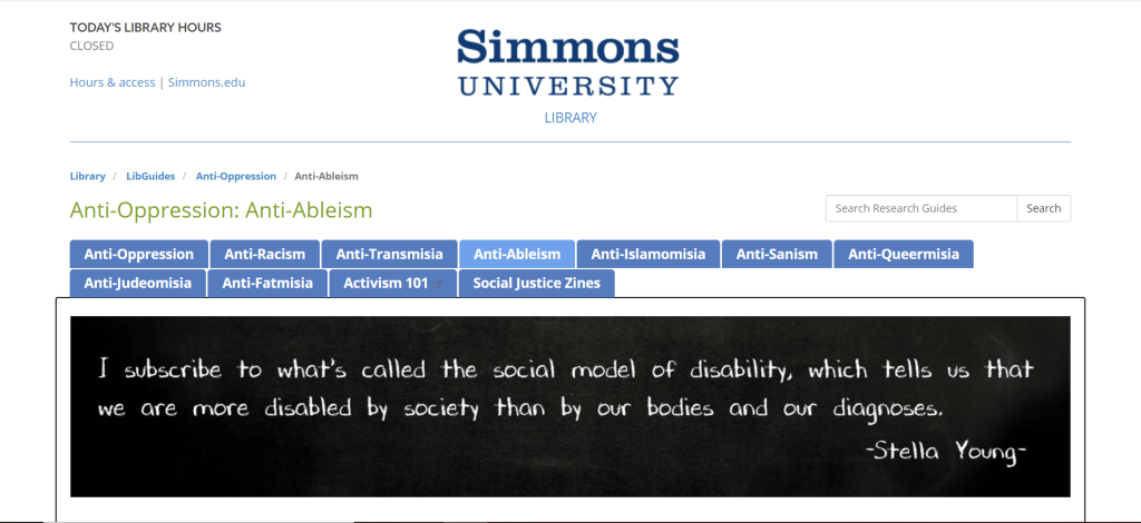 A picture of the Simmons University LibGuide website.